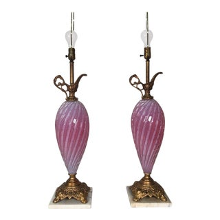 1940s Murano Glass Ewer Lamps - a Pair For Sale
