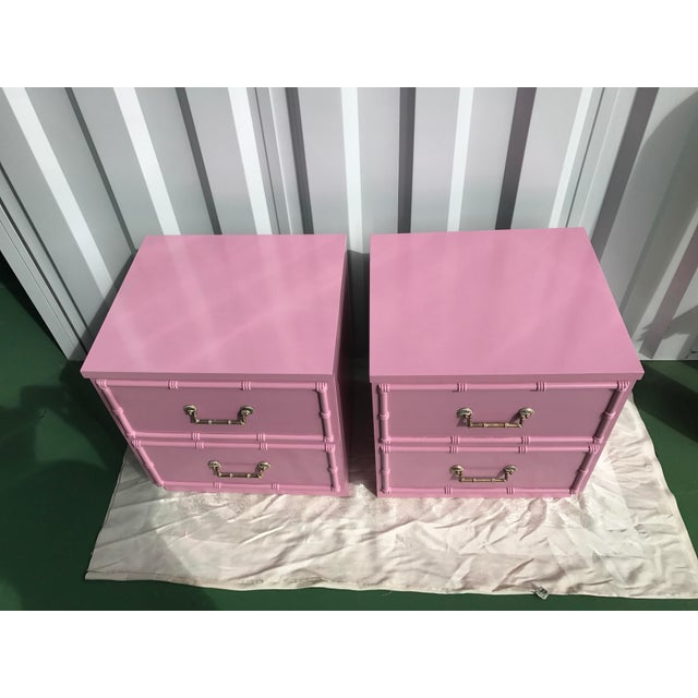Pink Lacquered Faux-Bamboo Nightstands - A Pair - Image 5 of 8