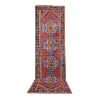 Distressed Oushak Rug Runner - Faded Colors Hallway Rug 3'1″ X 10'1″ For Sale