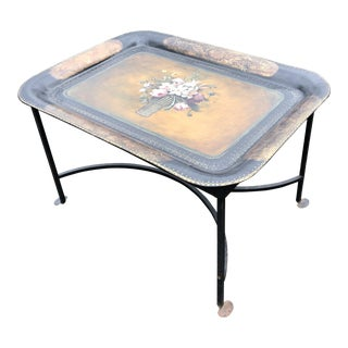 1940 Vintage Tole Painted Tray Coffee Table For Sale