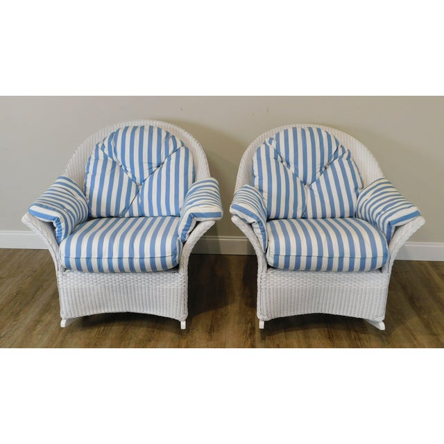 Traditional LLoyd Flanders White Wicker Pair Patio Porch Rockers For Sale - Image 3 of 13