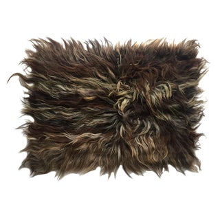 "Handmade Natural Wool Shaggy Tulu Rug - 3'5"" X 2'7"" For Sale"