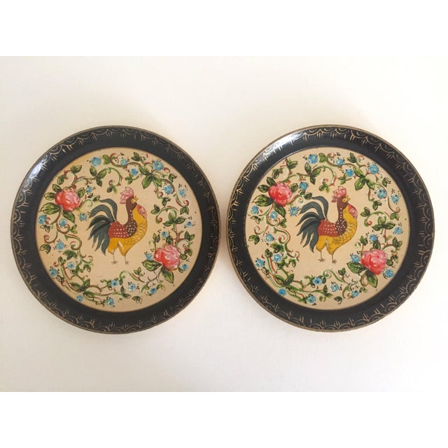This pair of 2 vintage 1940's Japan hand painted lacquer multicolor rooster decorative plates is a very special and unique...