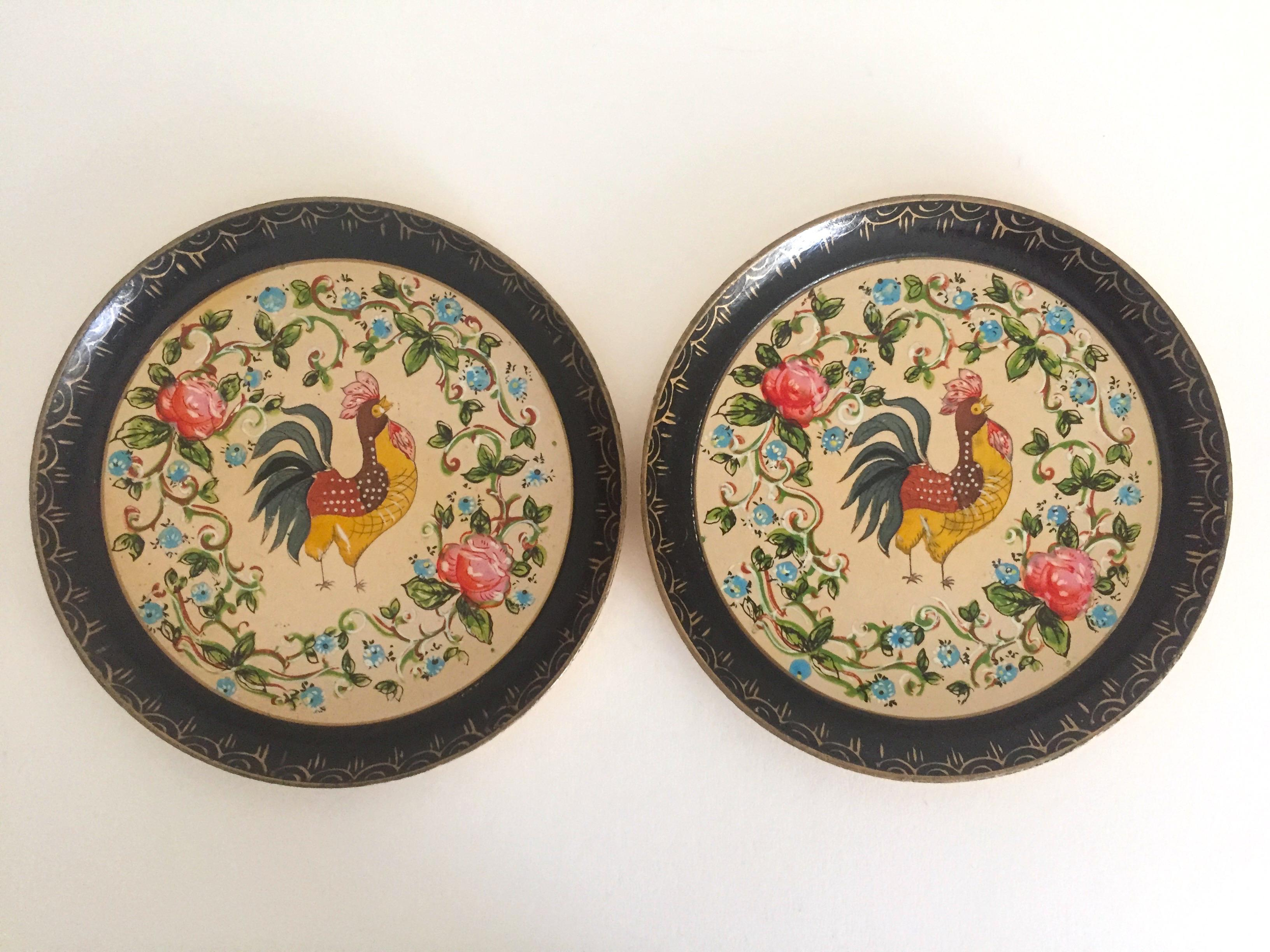 Vintage 1940u0027s Japanese Hand Painted Rooster Decorative Plates - A Pair - Image 2 of 11  sc 1 st  Chairish & Vintage 1940u0027s Japanese Hand Painted Rooster Decorative Plates - A ...