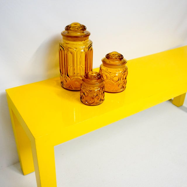 1970's Long Yellow Wooden Parsons Table - Image 3 of 7