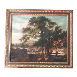 """Late 18th Century """"Traveler in a Landscape Passing a Cottage"""" Oil Painting, Framed For Sale"""