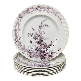Clarice Cliff Purple Harvest Transferware Dinner Plates - Set of 8 For Sale