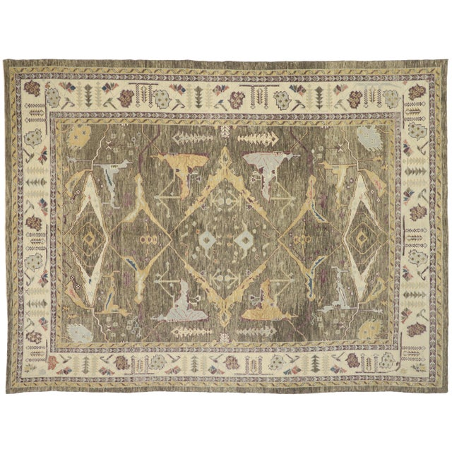 turkish oushak rug with warm earth tone colors 10 01 x 13 05 chairish chairish