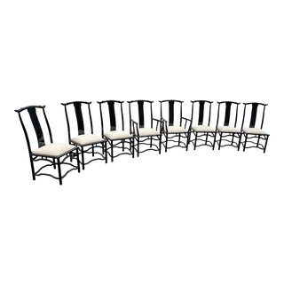 1990s Black Italian Pagoda Style Dining Chairs - Set of 8 For Sale