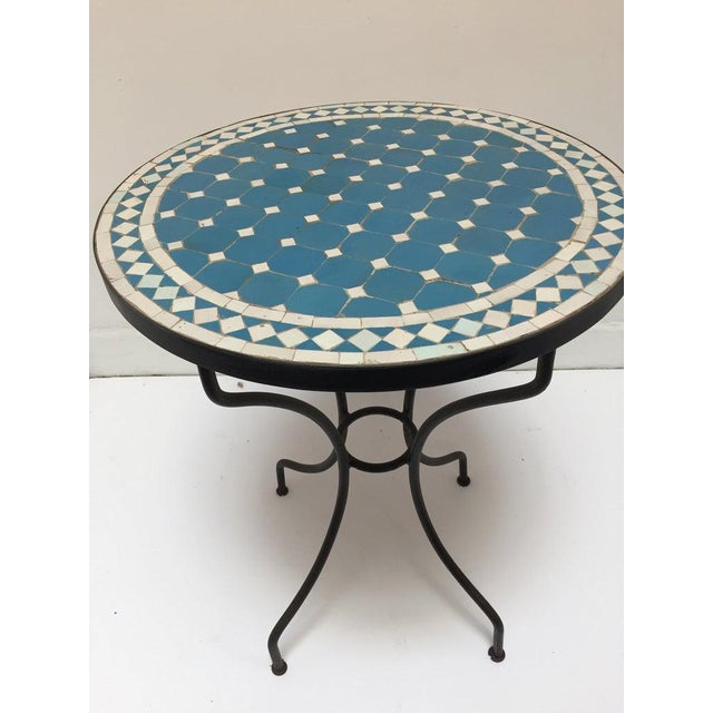 Moroccan Mosaic Blue Tile Bistro Table For Sale - Image 13 of 13