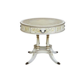 French Empire Style White Painted Leather Top Drum Table