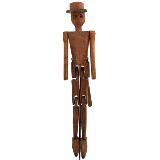"Antique Folk Art Articulated Carved Wooden ""Dancing Doll"" Figure For Sale"
