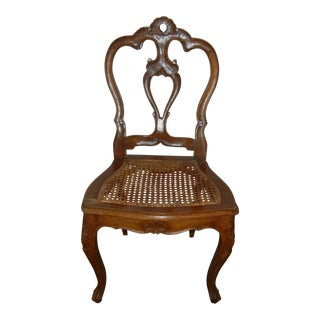 Small Italian Carved Back and Cane Seats Child Size Chair For Sale