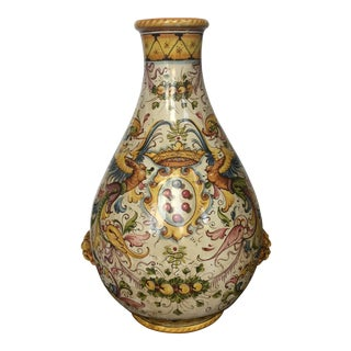 Large Italian Faience Ceramic Vase Landscape With Phoenix Motif For Sale