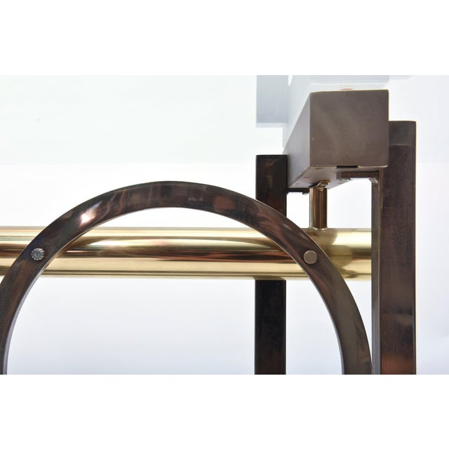 Gold American Modern Chrome, Brass and Glass Dining Table, DIA For Sale - Image 8 of 10