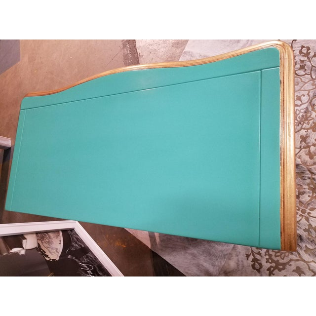 Turquoise Italian Solid Cherry Chest of Drawers / Console For Sale - Image 8 of 10