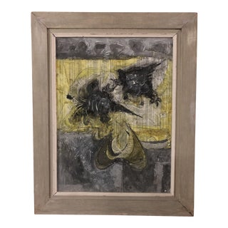 Mid-Century Semi-Abstract Cockfight Painting For Sale