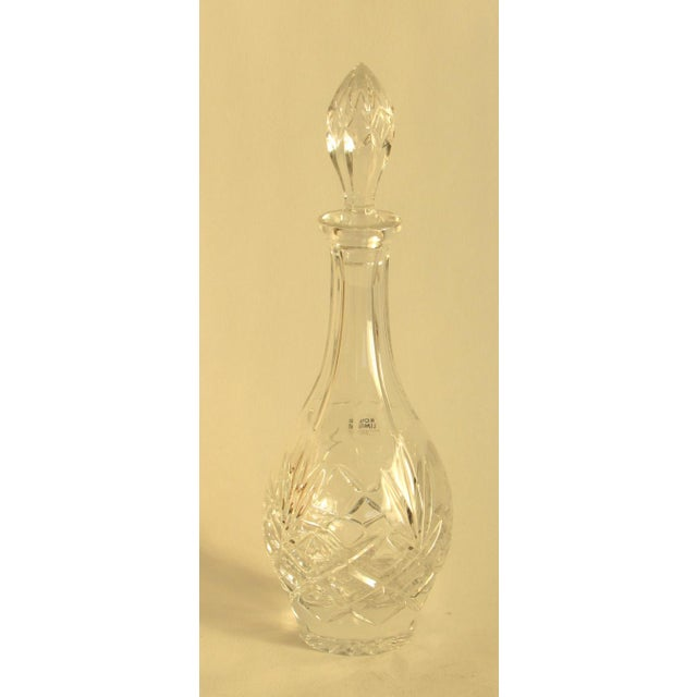 A vintage lead glass decanter, probably circa 1990s. This is in very good condition with very light wear, a few very light...