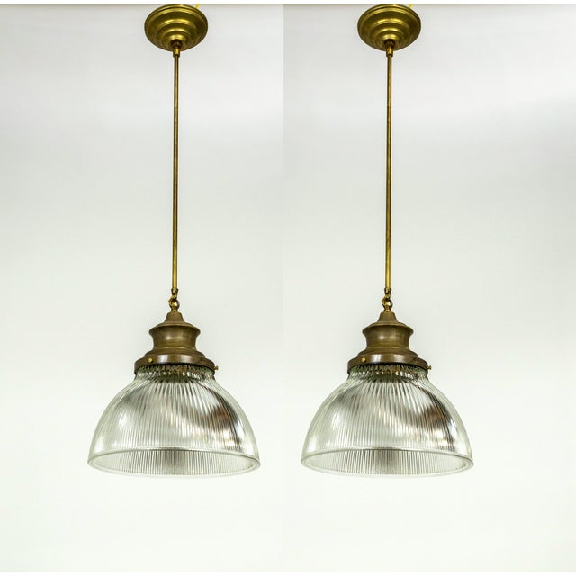Large Holophane Glass & Brass Pendants - a Pair For Sale - Image 13 of 13