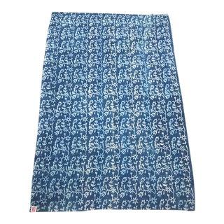 "Vintage Kantha Blue Throw - 85"" X 58"" For Sale"