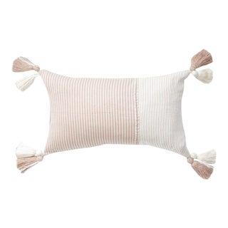 Guatemalan Blush Striped Handwoven Pillow For Sale