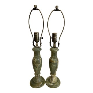 Vintage Italian Green Onyx Lamps - a Pair For Sale