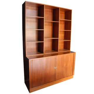 Tambour Door Credenza / Sideboard and Bookshelf in Teak by Peter Løvig Neilsen For Sale
