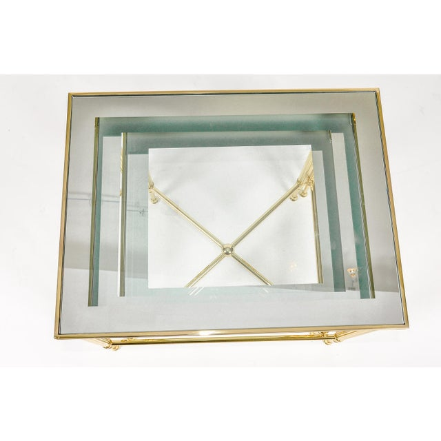 Mid 20th Century Brass & Glass Nesting Tables - Set of 3 For Sale - Image 5 of 8