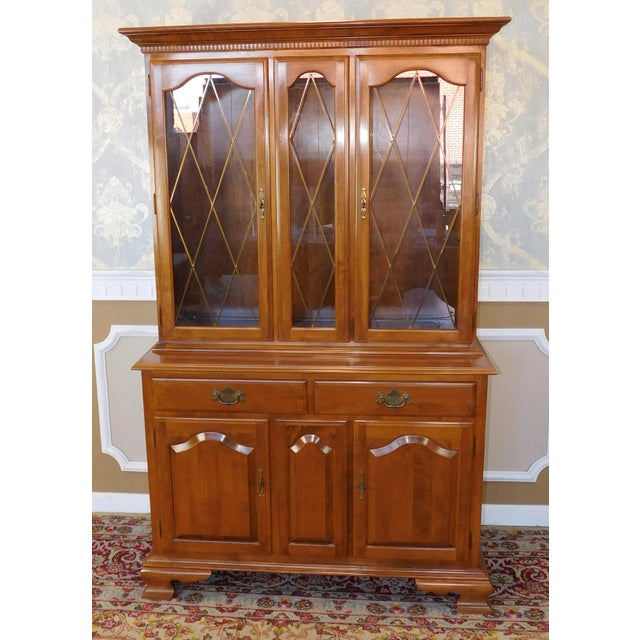 This Is A Mint Condition Solid Maple Colonial Style Dining Room China Cabinet Hutch Made By
