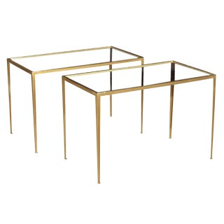 1970s Hollywood Regency Brass Side Tables - a Pair