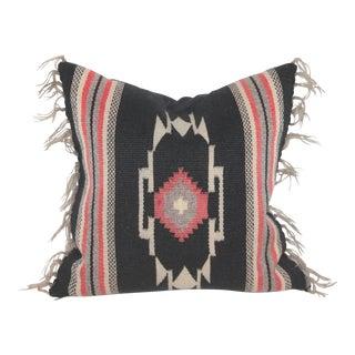 Black Mexican Serape Pillow For Sale