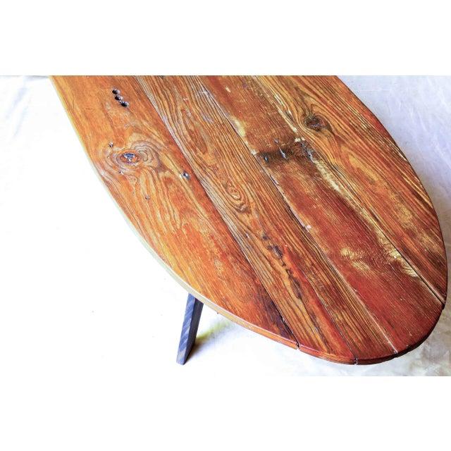 Mid-Century Reclaimed Wood Surfboard Coffee Table - Image 4 of 11