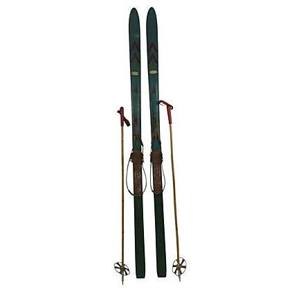 European Snow Skis With Bamboo Poles - A Pair - Image 1 of 3