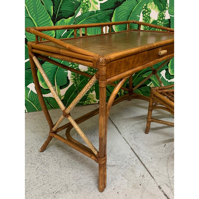 1960s Mid Century Bamboo Desk and Chair For Sale - Image 5 of 13