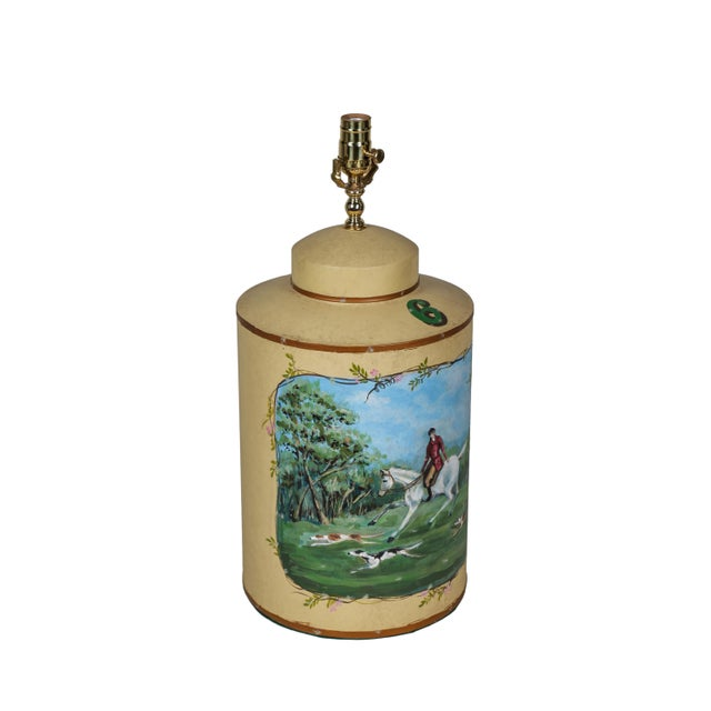 Art Deco Vintage English Hand-Painted Hunting Scence Tea Caddy Table Lamp For Sale - Image 3 of 7