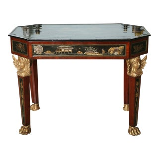 Fine Mahogany, Parcel-Gilt, Chinoiserie Center Table For Sale
