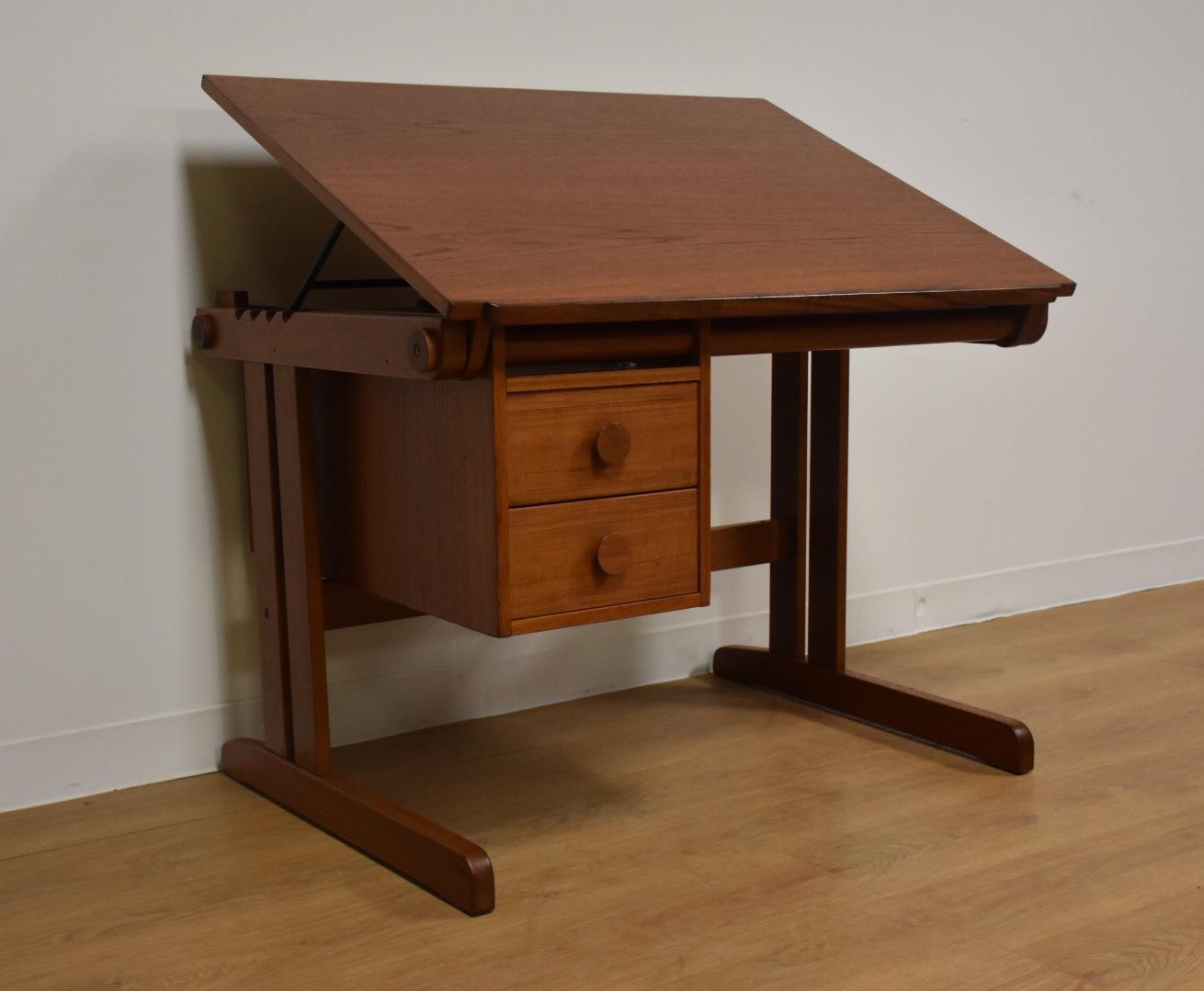 drafting table desk. A Mid Century Modern Teak Drafting Table Or Desk With Sliding Adjustable Bank Of Two