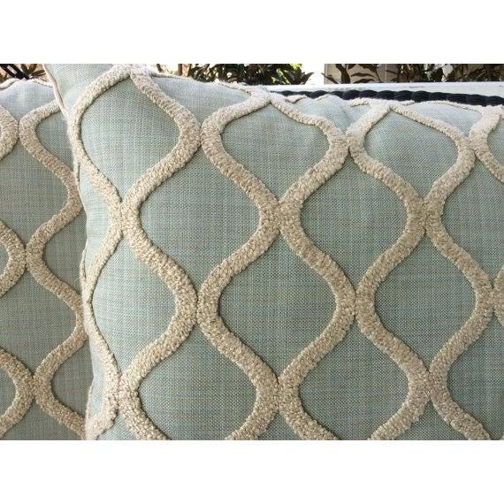 Spa Blue & Cream Linen, Chenille, & Velvet Pillows - a Pair - Image 3 of 4