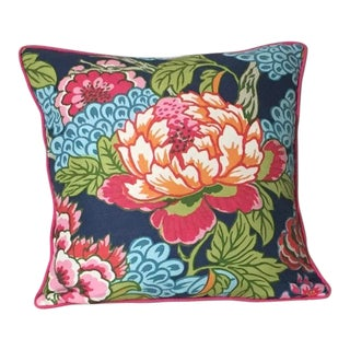 Asian Modern Thibaut Honshu in Navy Designer Pillow Cover With Self Welt For Sale
