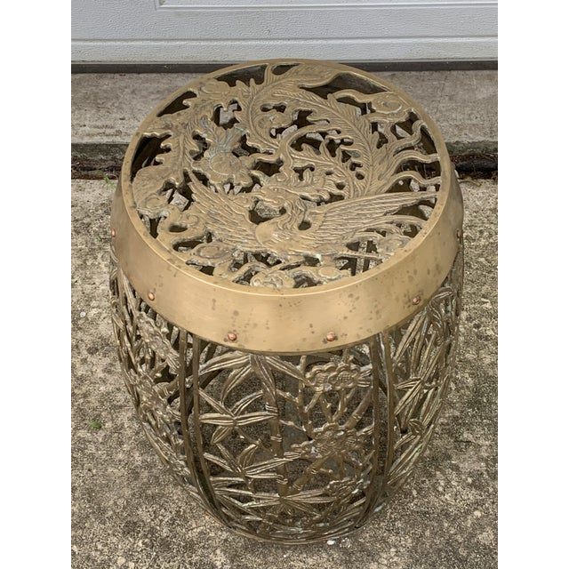 Vintage Brass Faux Bamboo and Fretwork Design Garden Stool For Sale - Image 12 of 13