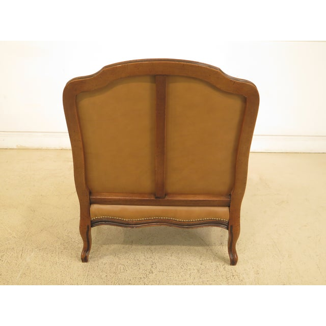 French Louis XV Style Leather Lounge Chair & Ottoman - A Pair - Image 7 of 13