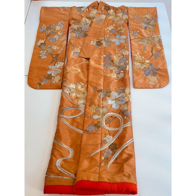 Vintage Brocade Japanese Ceremonial Kimono in Orange, Gold and Silver For Sale - Image 13 of 13