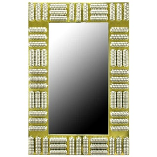 Brass & Spun Aluminum Custom Wall Mirror in the Manner of C. Jere, Circa 1970s For Sale