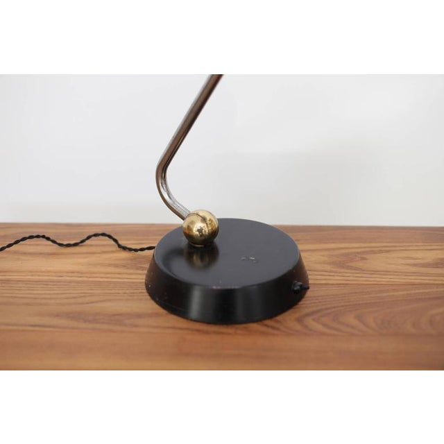 Huge Black Table Lamp with Chrome, Copper and Brass Details For Sale - Image 6 of 6