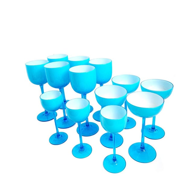 Vintage Carlo Moretti Turquoise Blue Set of 13 Glasses - Set of 13 For Sale In Charleston - Image 6 of 6