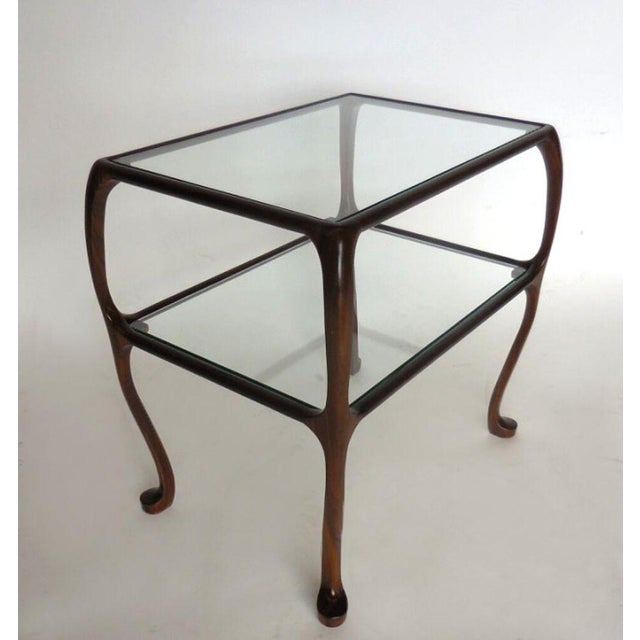 Custom Curvy Side Table in Walnut Wood For Sale - Image 4 of 8