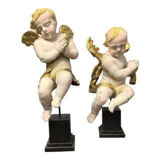19th Century Wood Hand Carved Cherubs or Angels - a Pair For Sale
