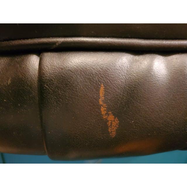 Vintage Kroehler Black Leather Tufted Ottoman For Sale In Phoenix - Image 6 of 7