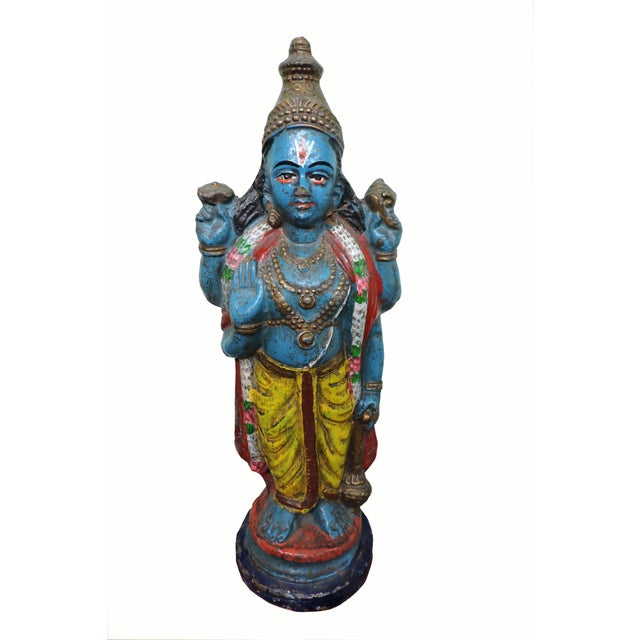 Mid 20th Century Polychromatic Krishna Figure For Sale - Image 5 of 5