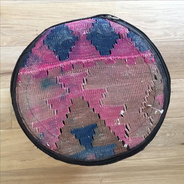 Kilim Upholstered Stool Ottoman - Image 4 of 4